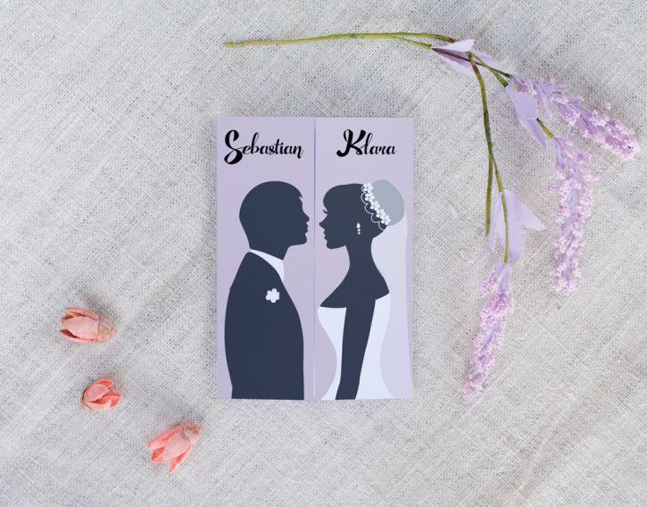 czarno białe zaproszenie ślubne